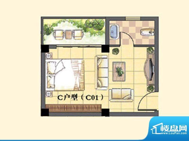 东兴豪园5/6#楼C户型面积:30.00m平米
