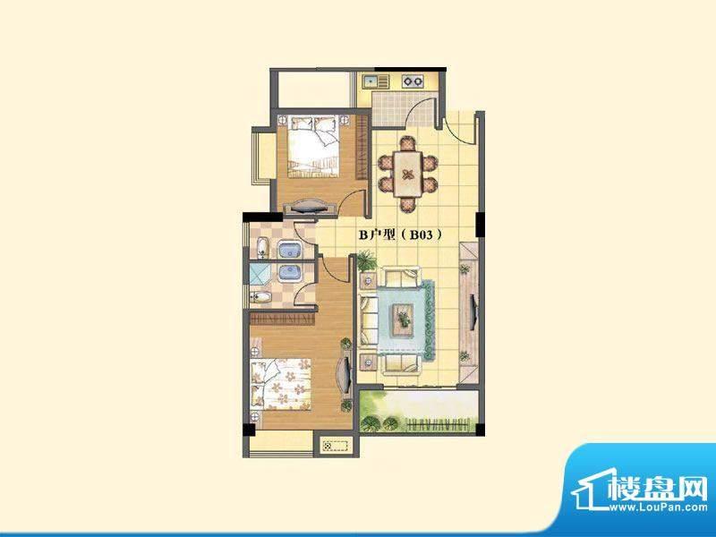 东兴豪园5/6#楼B户型面积:90.00m平米
