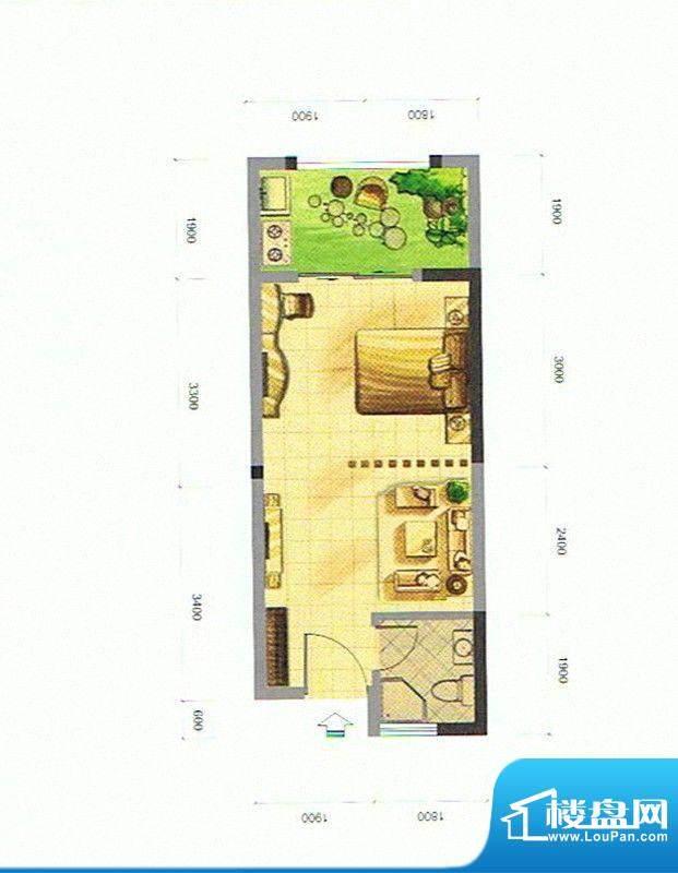 隆盛福隆花园A户型商面积:35.89m平米