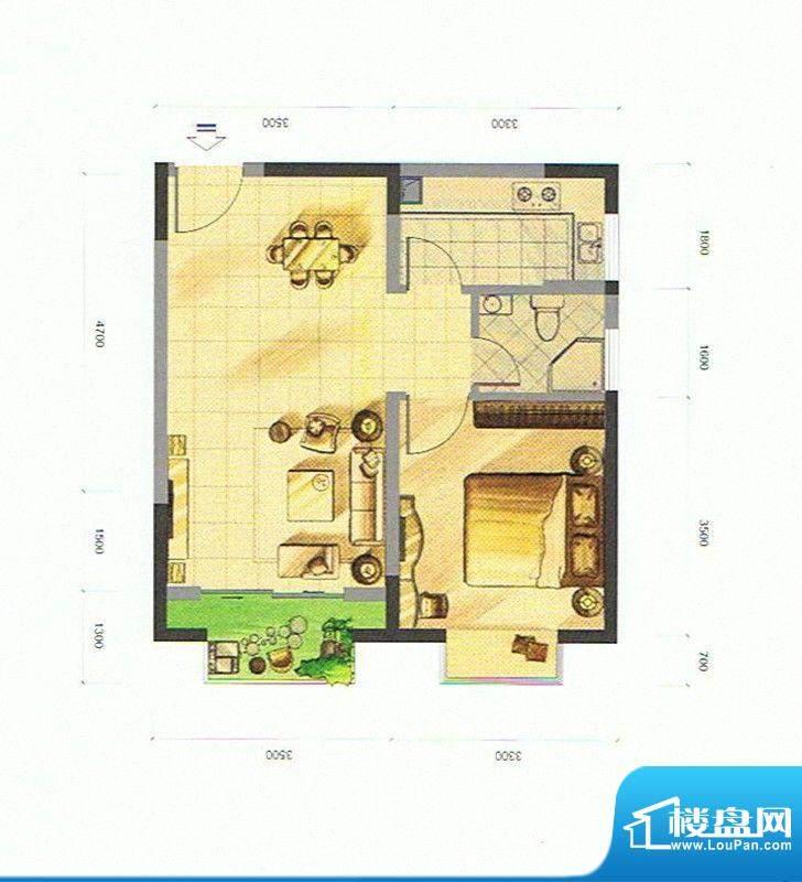 隆盛福隆花园B2户型面积:49.99m平米