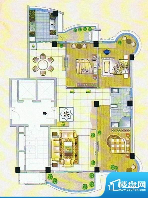 嘉琳广场户型图 3室面积:135.00m平米