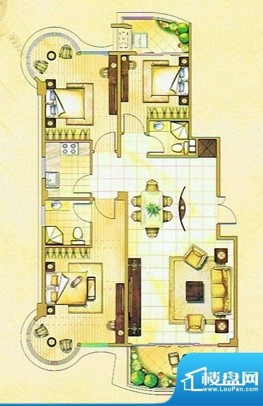 嘉琳广场户型图 3室面积:124.00m平米
