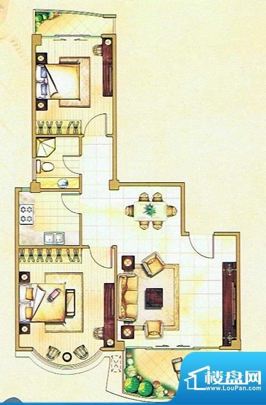 嘉琳广场户型图 2室面积:82.00m平米
