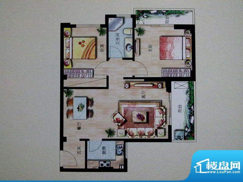 大华绿洲A幢B户型 2面积:85.00m平米