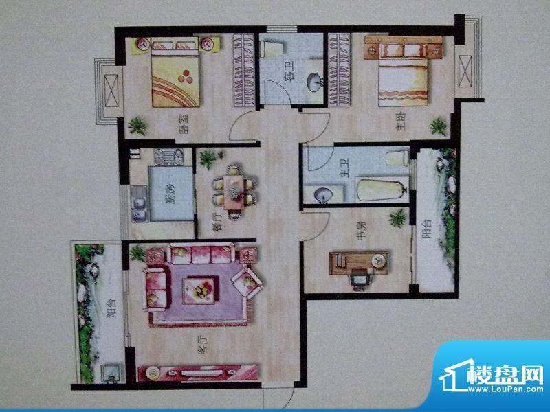 大华绿洲A幢E户型 3面积:112.00m平米