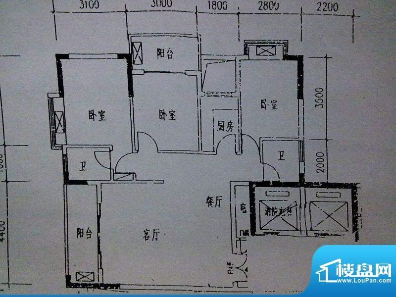 大华绿洲B幢A户型 3面积:105.00m平米