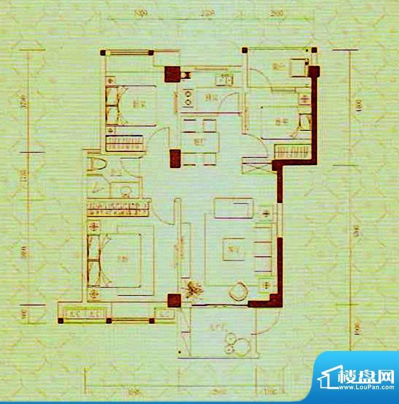 凯旋国际2/3#楼A1户面积:88.64m平米