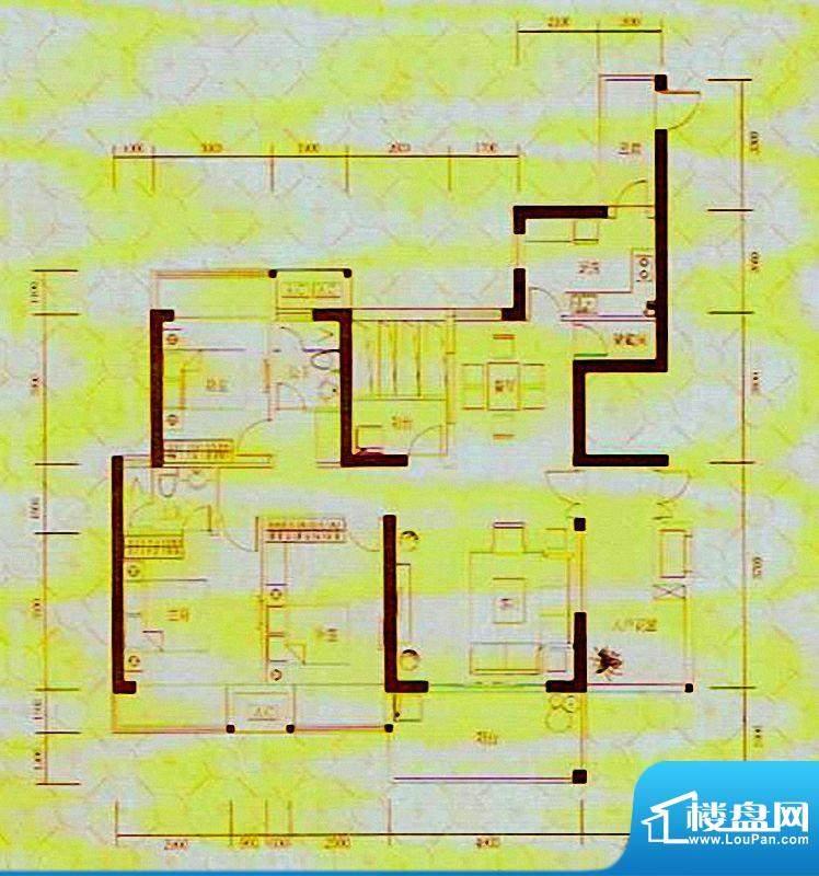 凯旋国际8#楼A1户型面积:157.88m平米