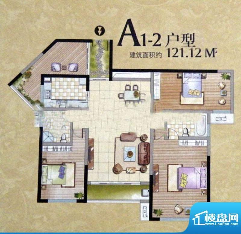 卓辉汇景城A1-2户型面积:121.12m平米