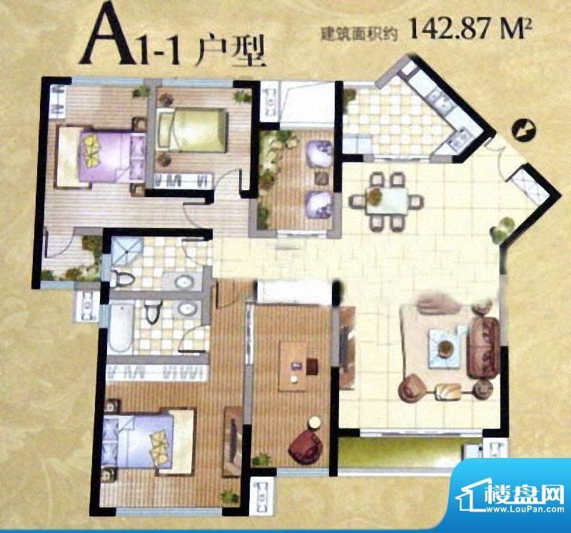 卓辉汇景城A1-1户型面积:142.87m平米