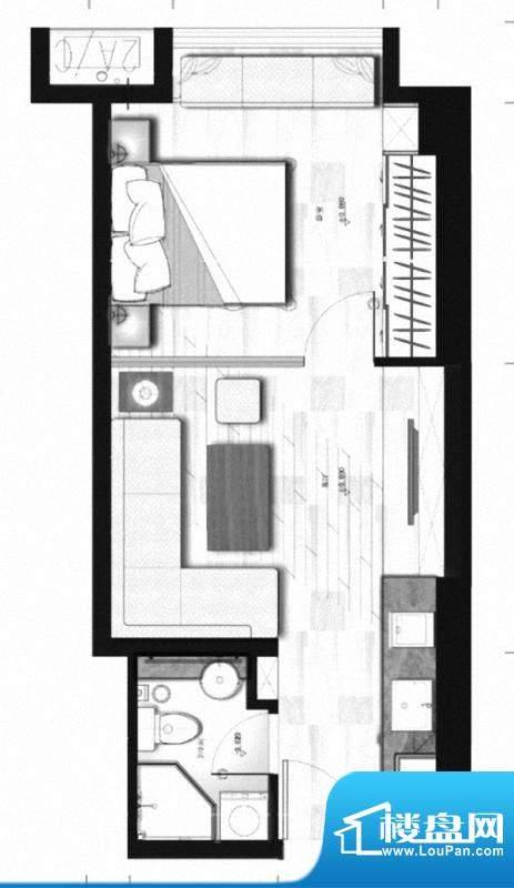 理想MOMA户型图 1室面积:47.68m平米
