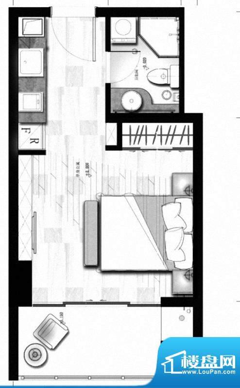 理想MOMA户型图 1室面积:39.00m平米