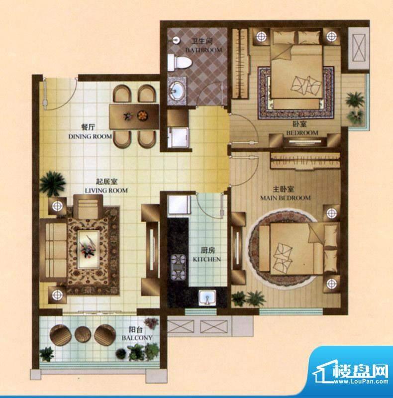 尚唐国际一期孔雀台G1户型户型图 唐山楼盘网图片