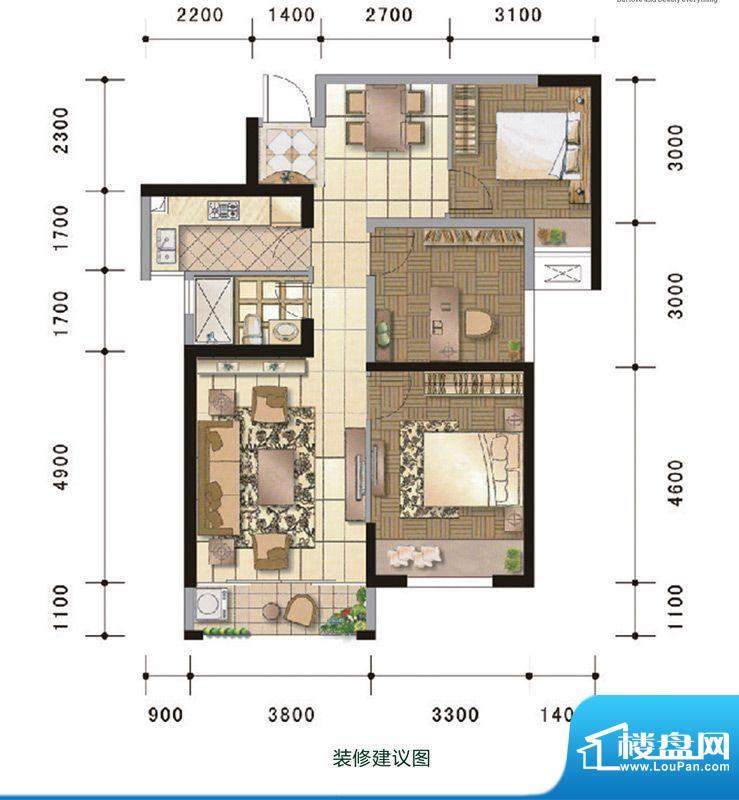 中超水木春天5#楼B户面积:75.00m平米