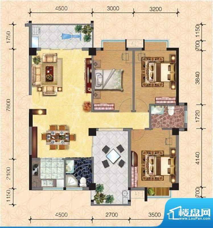 圣弗兰小镇7#/8#楼臻面积:130.40m平米