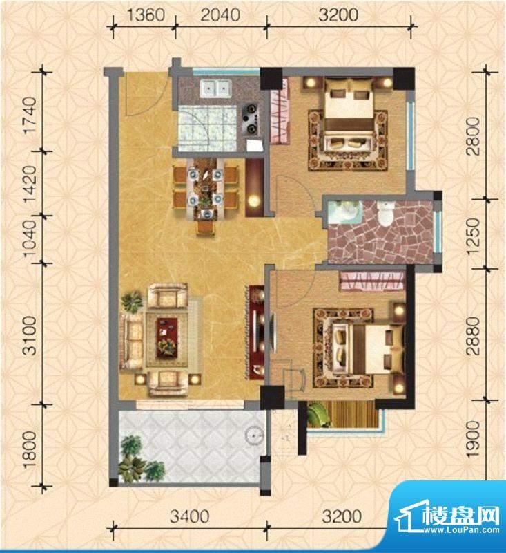 圣弗兰小镇7#/8#楼温面积:62.80m平米