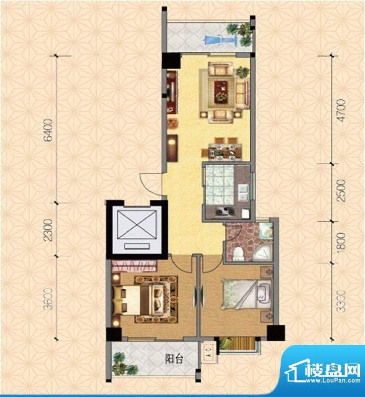 圣弗兰小镇6#楼温馨面积:74.40m平米
