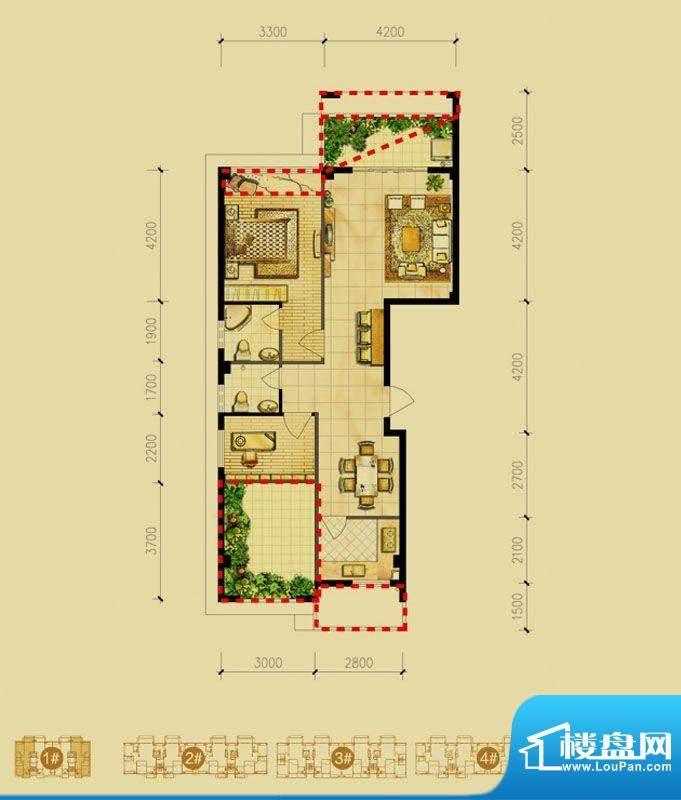 福璟湾1#楼A1户型 2面积:93.00m平米