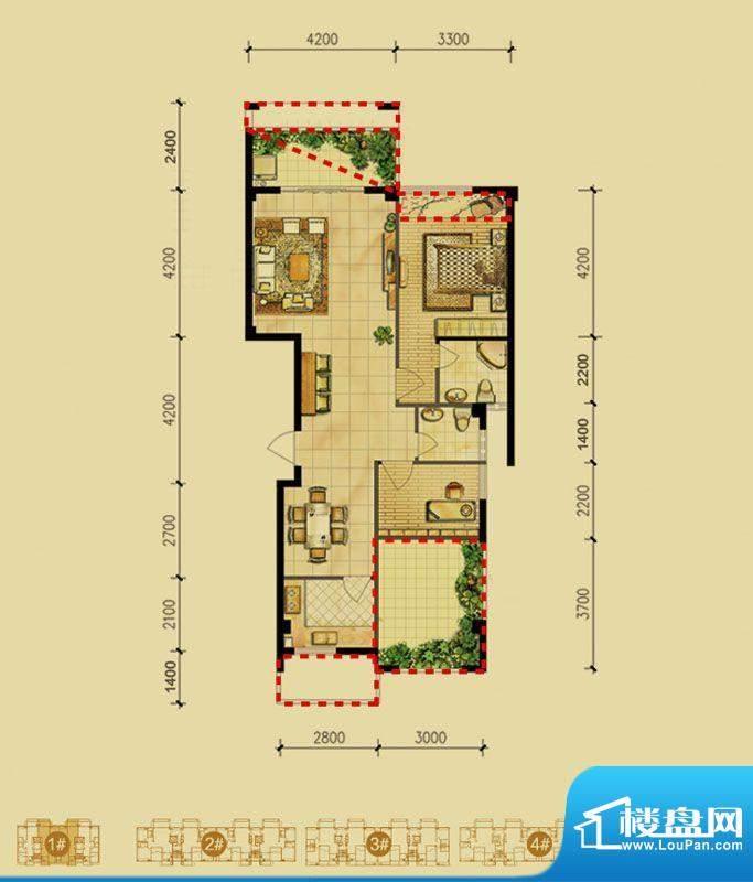 福璟湾1#楼A2户型 2面积:95.00m平米