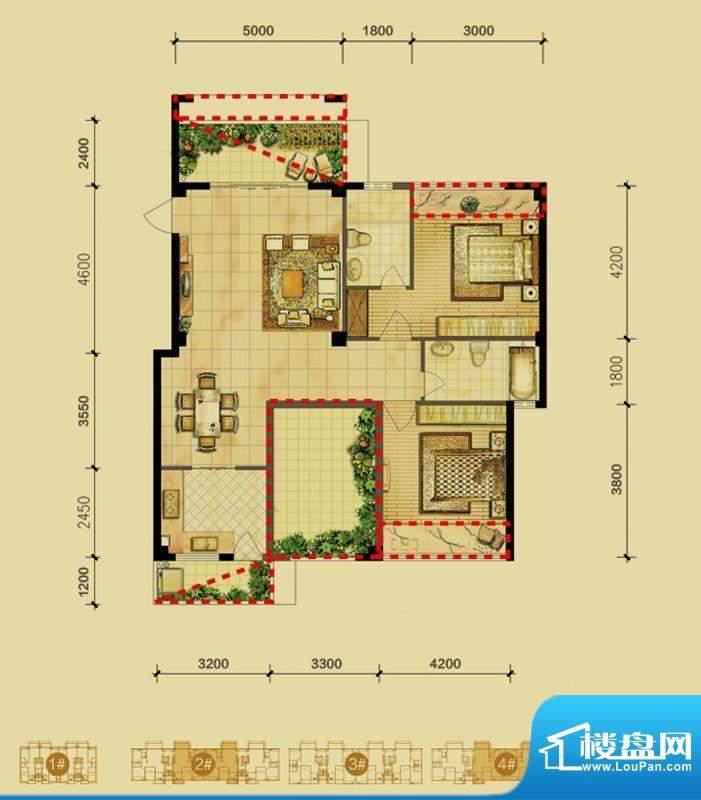 福璟湾2#/4#楼B2户型面积:110.00m平米
