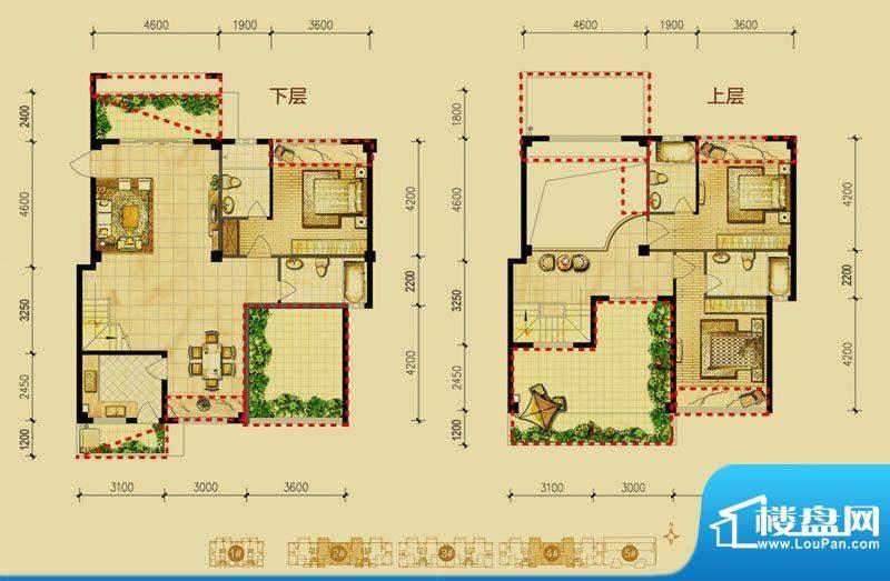 福璟湾2#/4#楼B4户型面积:174.00m平米