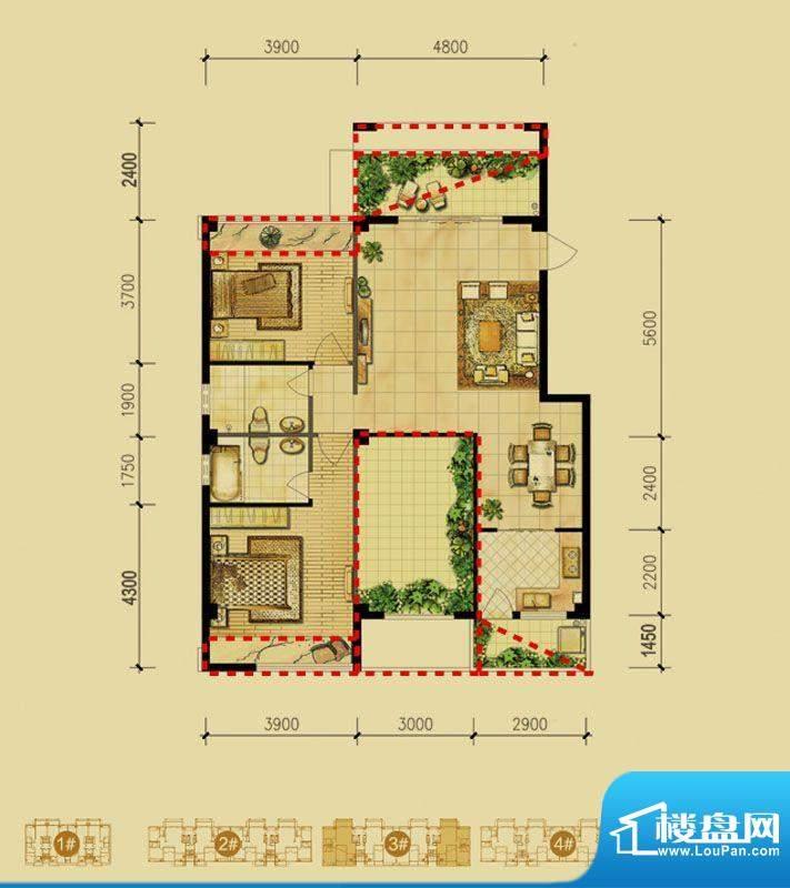 福璟湾3#楼C1户型 2面积:108.00m平米