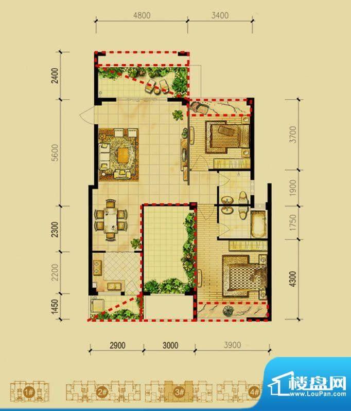 福璟湾3#楼C2户型 2面积:103.00m平米