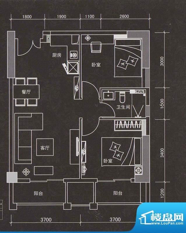 普君新城11单元 2室面积:81.36平米