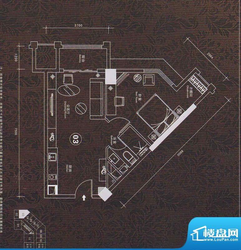 普君新城名流私寓03面积:70.66平米
