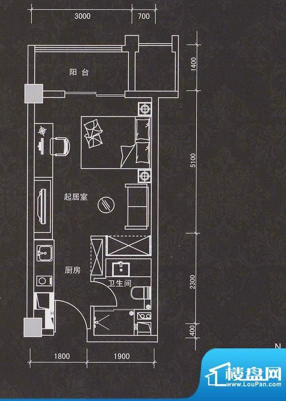 普君新城商务套房面积:42.59平米