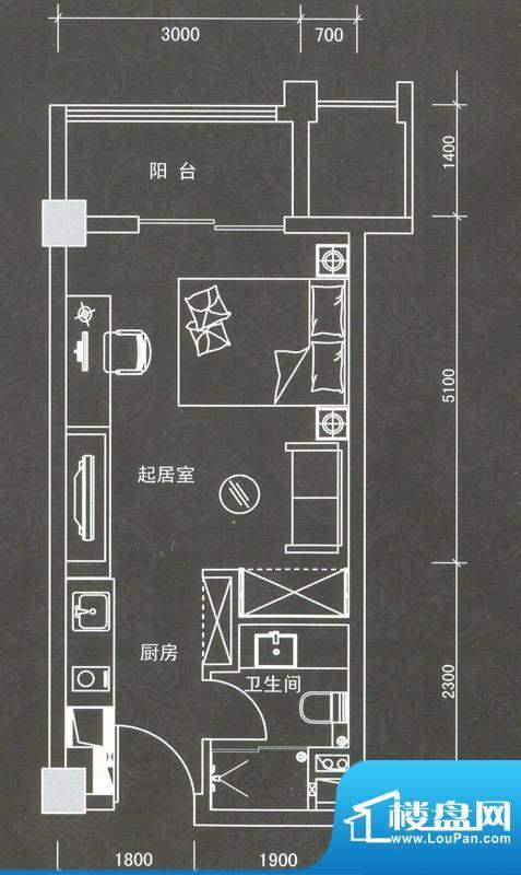普君新城君誉商务套面积:42.59平米