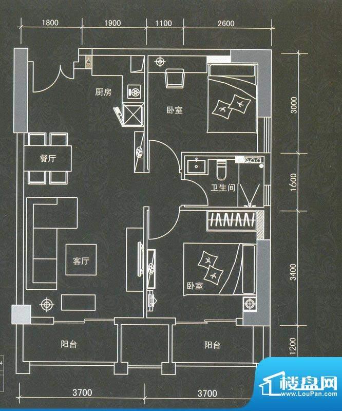 普君新城君誉公寓 2面积:42.59平米