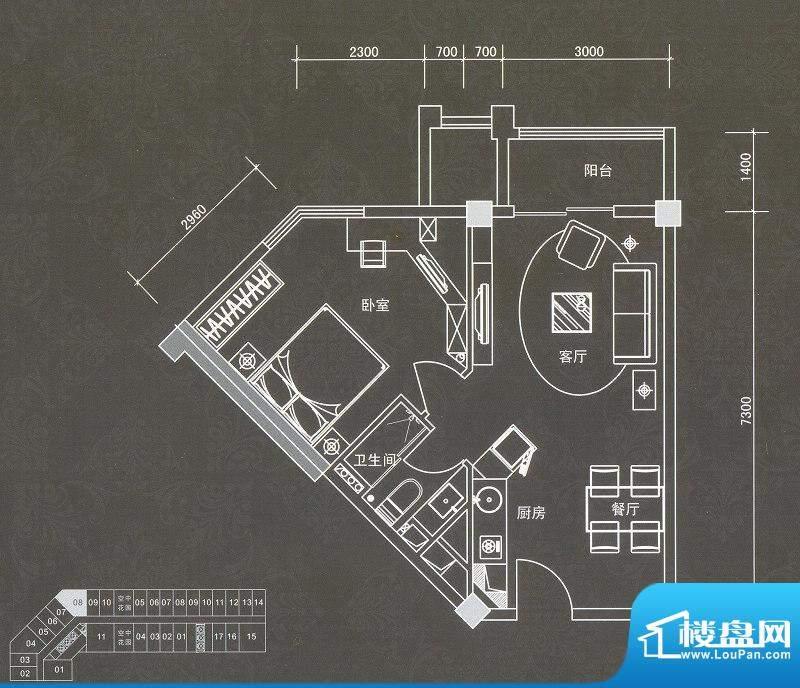 普君新城君誉C户型 面积:69.53平米