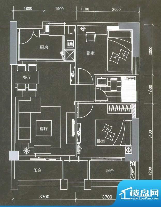 普君新城君誉B户型 面积:81.36平米