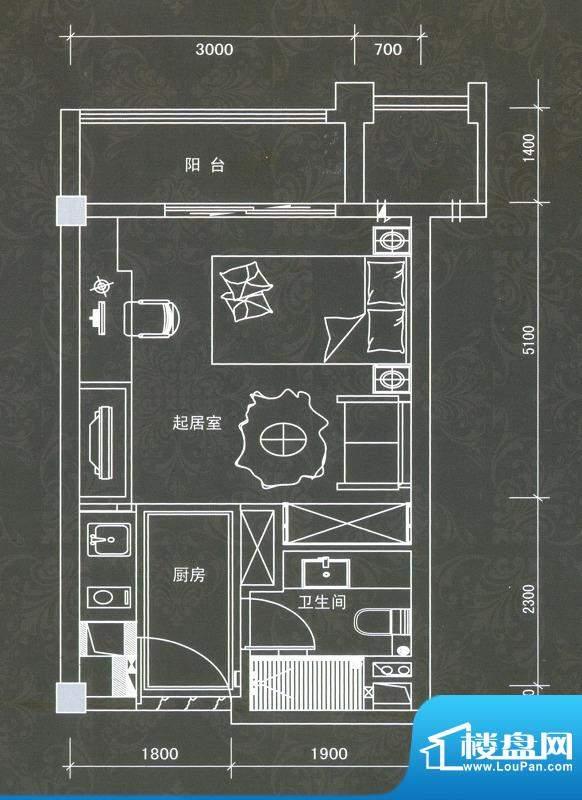普君新城君誉A户型 面积:42.59平米