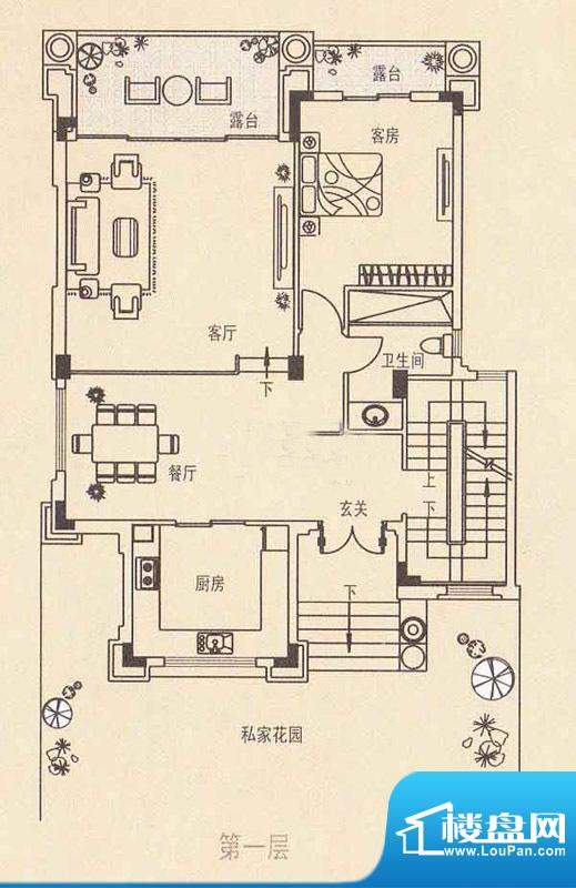 丽日天鹅湖一层 1室面积:90.00平米