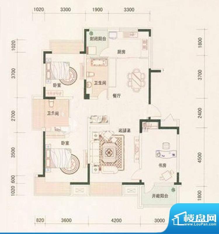 保利百合香湾一期H户面积:133.00平米