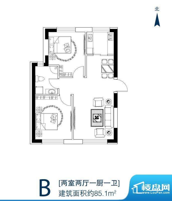 天富御苑B户型 2室2面积:85.10平米
