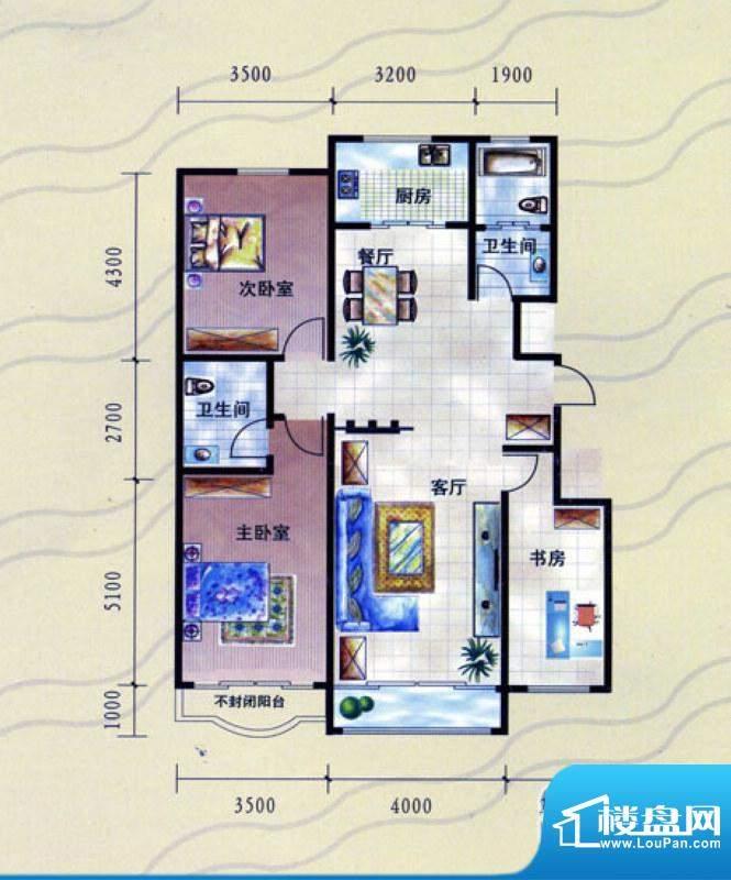 九龙明珠K户型:小高面积:126.00m平米
