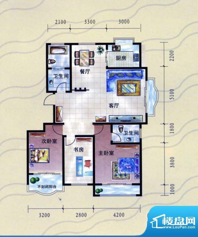 九龙明珠I户型:三室面积:134.00m平米