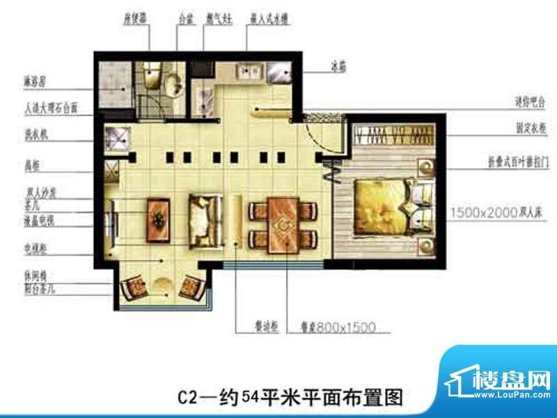中恒书香门邸标准层面积:54.00m平米