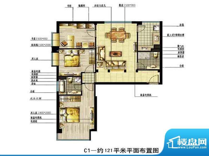 中恒书香门邸标准层面积:121.00m平米