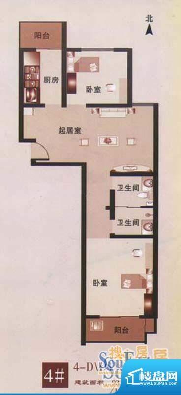 美意苑D1户型 2室1厅面积:101.67m平米
