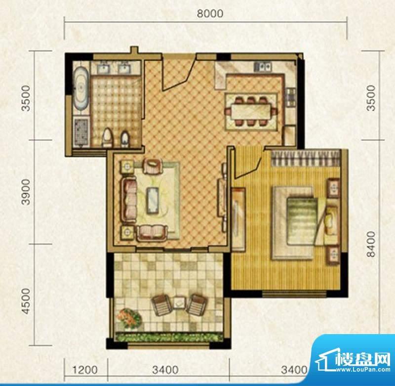 海南温泉1号C型酒店面积:56.65平米