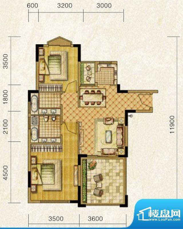 海南温泉1号D型酒店面积:89.64平米