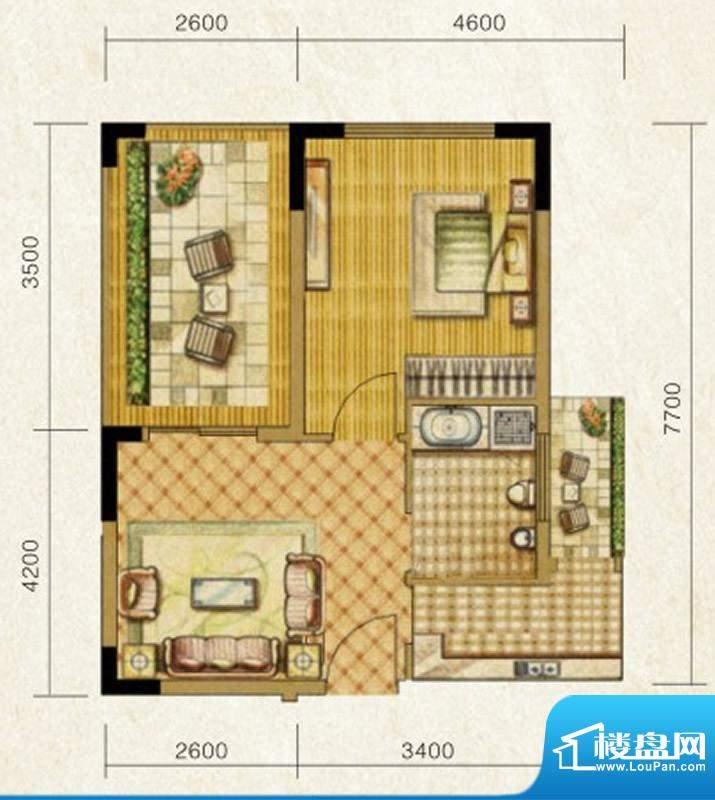 海南温泉1号E型酒店面积:53.56平米