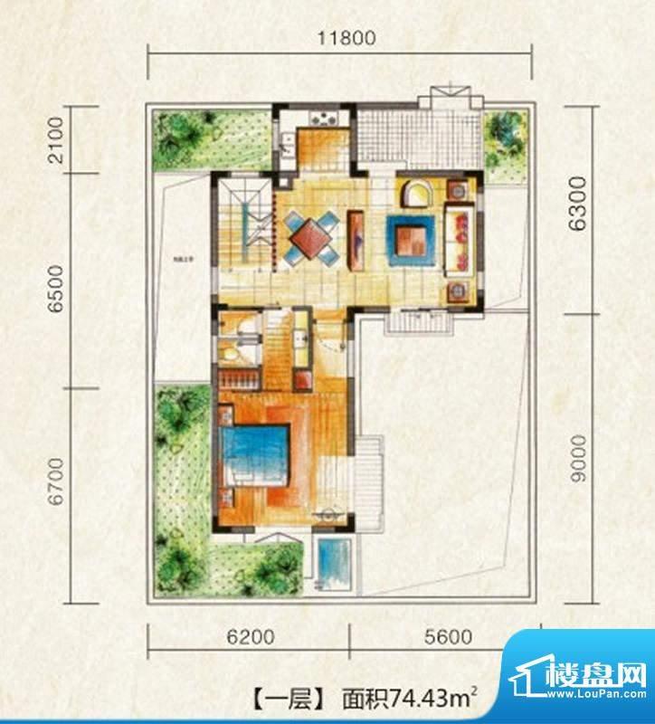 海南温泉1号W型独栋面积:178.52平米