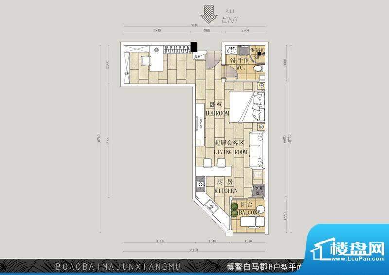 博鳌白马郡I户型 1室面积:83.28平米