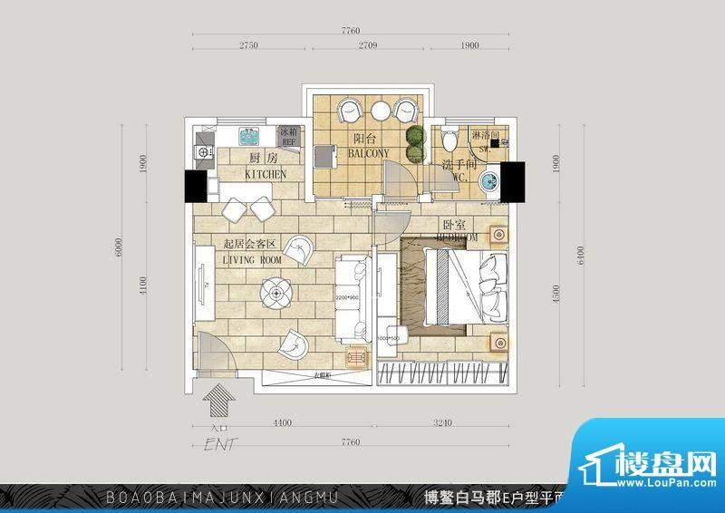 博鳌白马郡F户型 1室面积:69.59平米