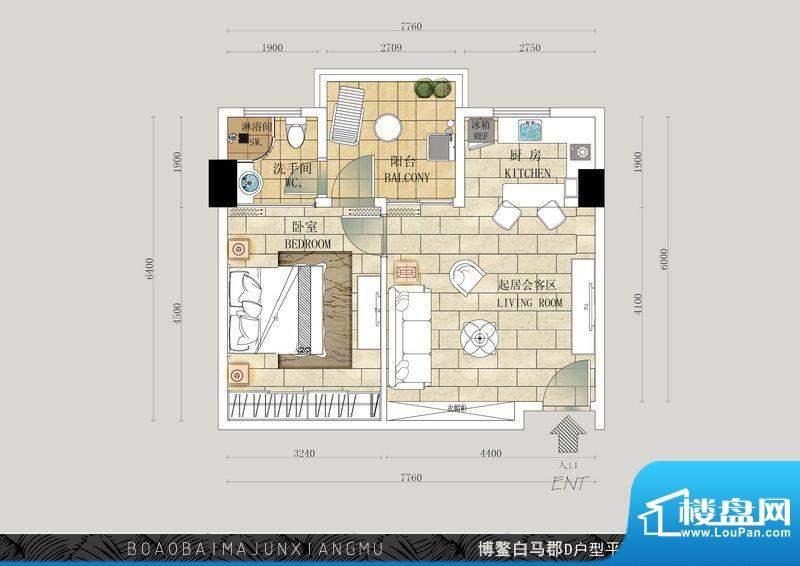 博鳌白马郡D户型 1室面积:64.35平米